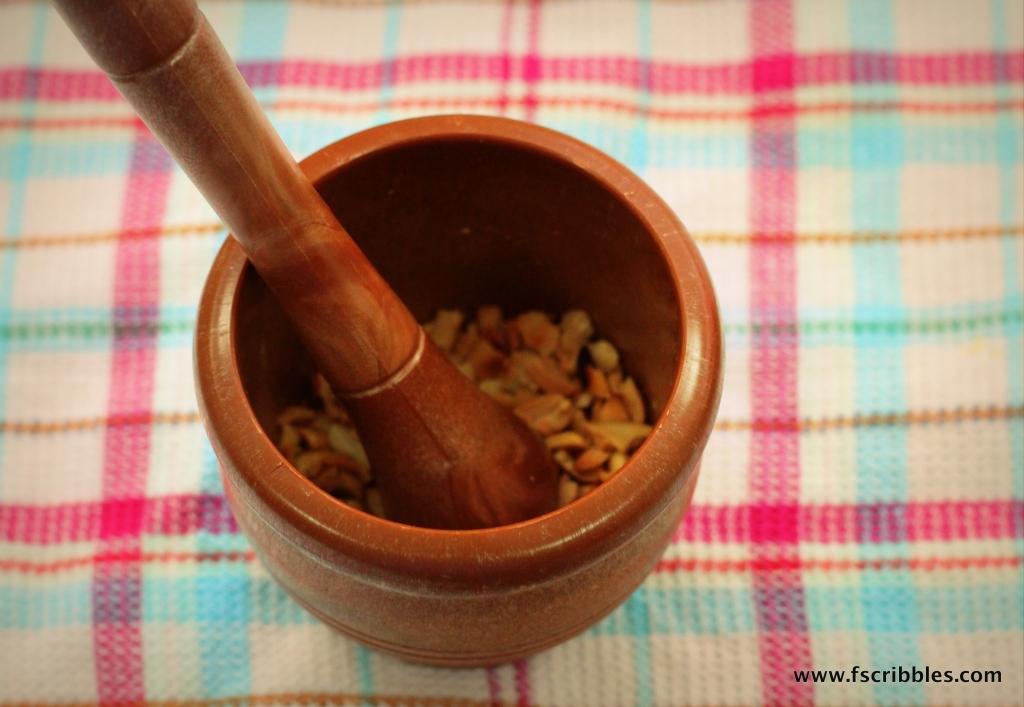 mortar pestle peanuts